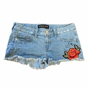 Express jean floral shorts
